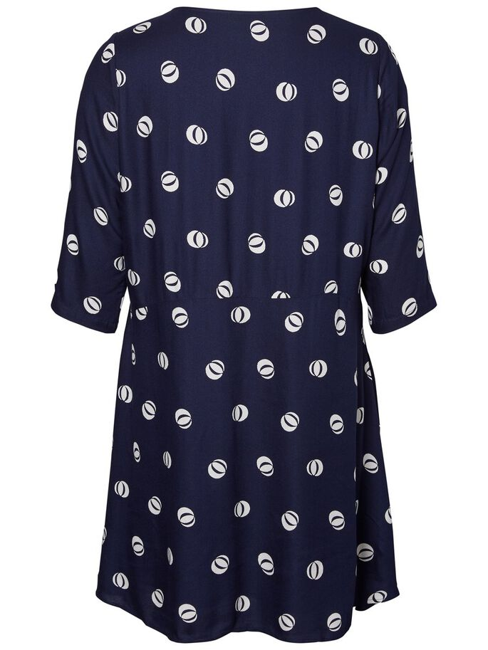 PRINTED VISCOSE DRESS, Navy Blazer, large