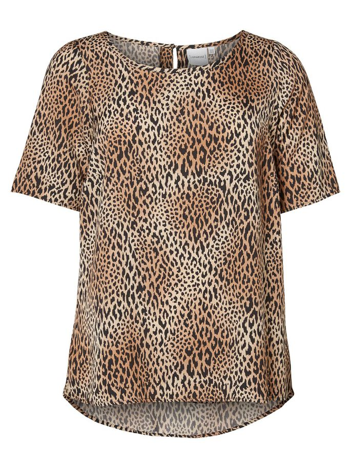 LEOPARD PRINTED 2/4 SLEEVED BLOUSE, Black Beauty, large