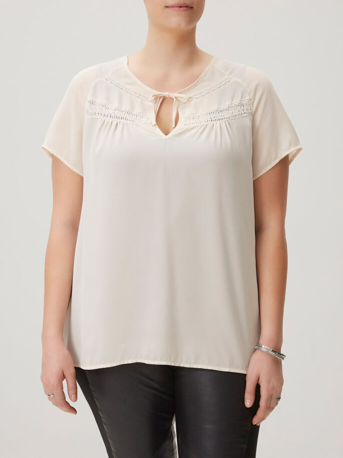 WOVEN SHORT SLEEVED TOP, Snow White, large