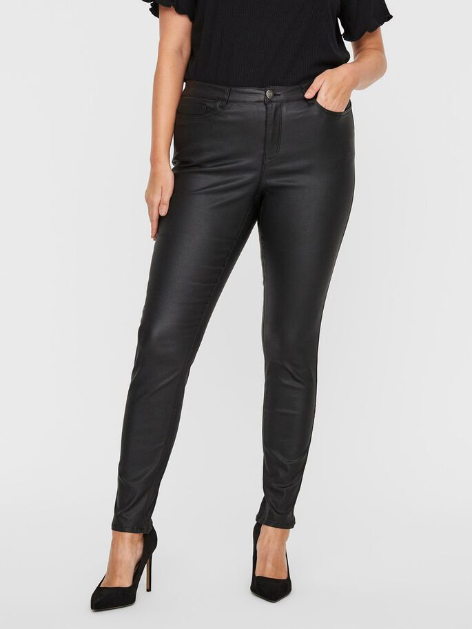 COATED TROUSERS, Black, large