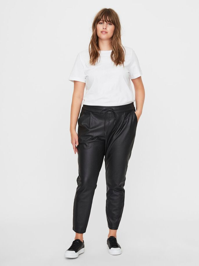 COATED LOOSE FIT TROUSERS, Black, large