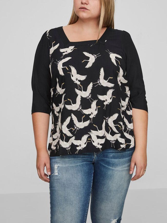 BIRD PRINTED BLOUSE, Black Beauty, large