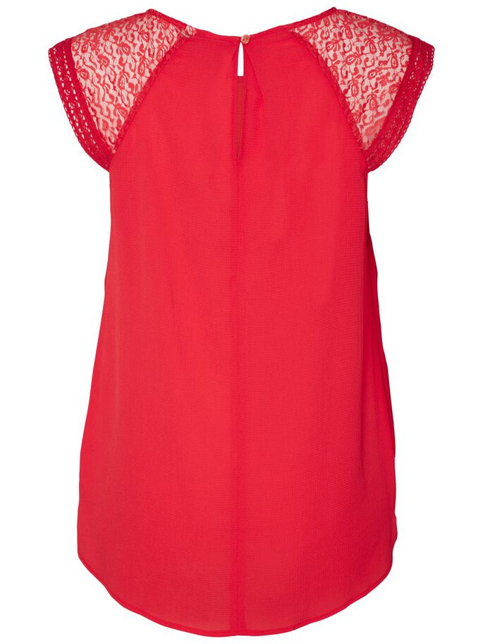LACE DETAILED SHORT SLEEVED BLOUSE, High Risk Red, large