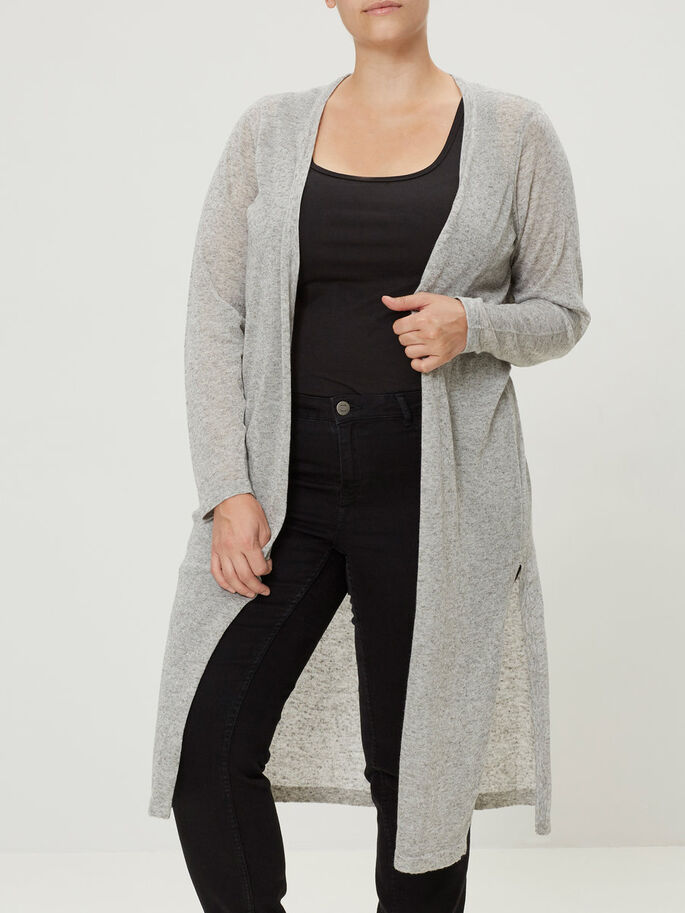 KNITTED CARDIGAN, Light Grey Melange, large
