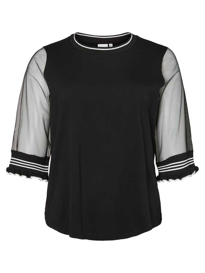 TOP WITH MESH SLEEVES 2/4 SLEEVED BLOUSE, Black, large