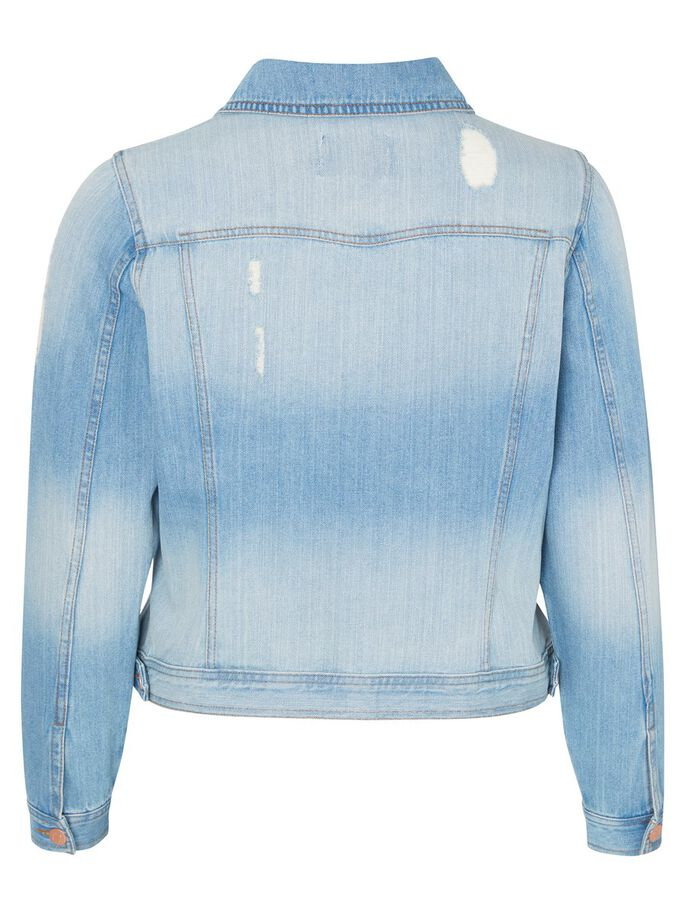 DESTROY DETAILED DENIM JACKET, Light Blue Denim, large