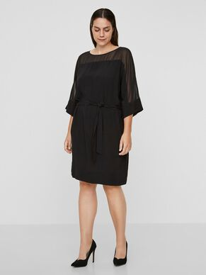 MESH TIE-BELT DRESS