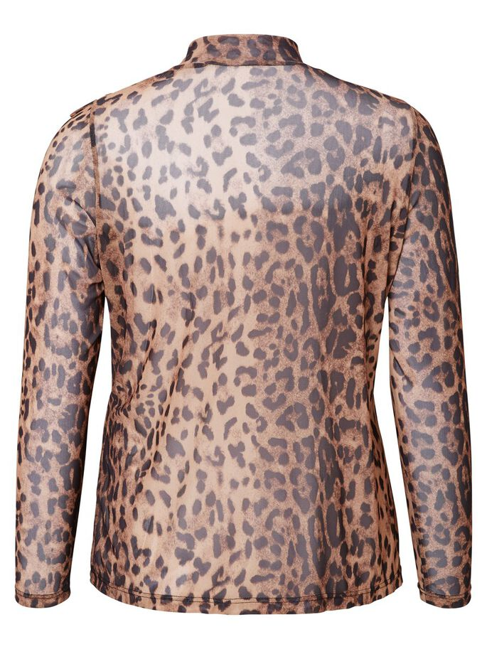 LEOPARD PRINTED LONG SLEEVED BLOUSE, Black Beauty, large