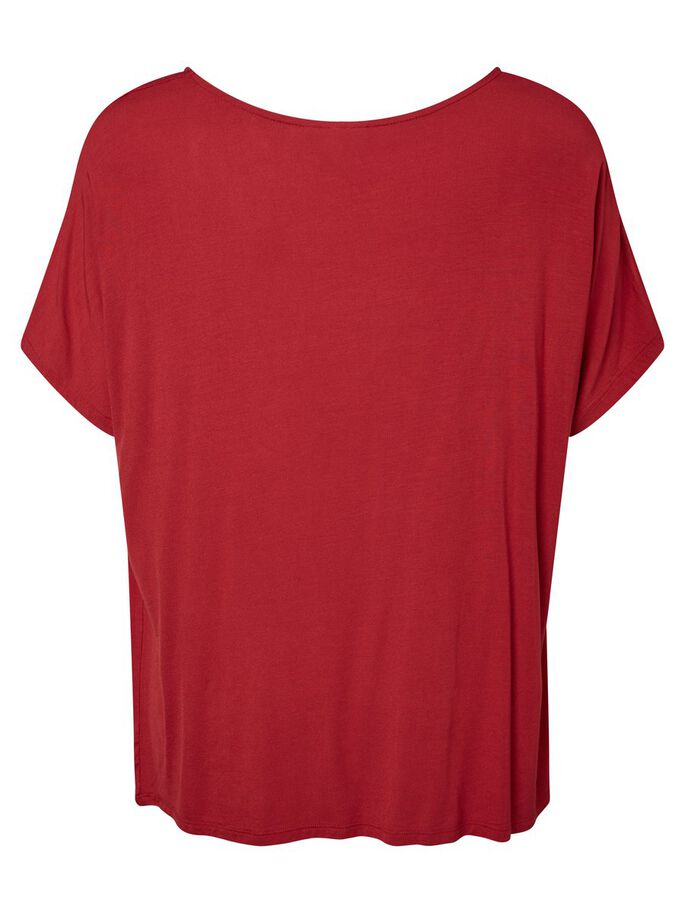 LOOSE FIT SHORT SLEEVED BLOUSE, Deep Claret, large