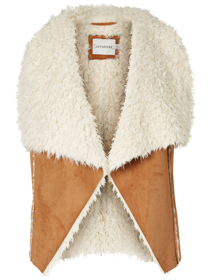 FOURRURE GILET, Tobacco Brown, large