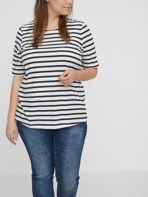 STRIPED 2/4 SLEEVED BLOUSE