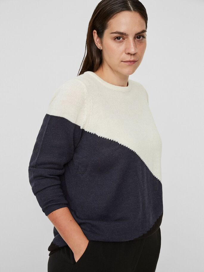 COLORBLOCKING-STRICK- PULLOVER, Snow White, large