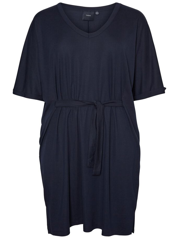CASUAL TIE-BELT DRESS, Navy Blazer, large
