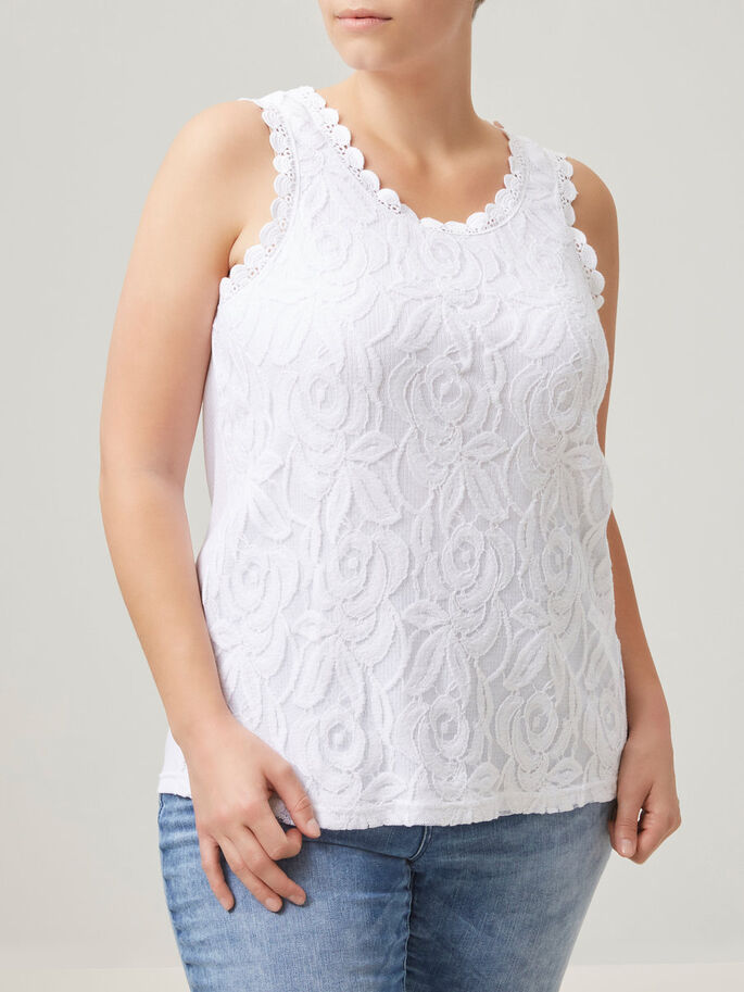 LACE SLEEVELESS TOP, Bright White, large