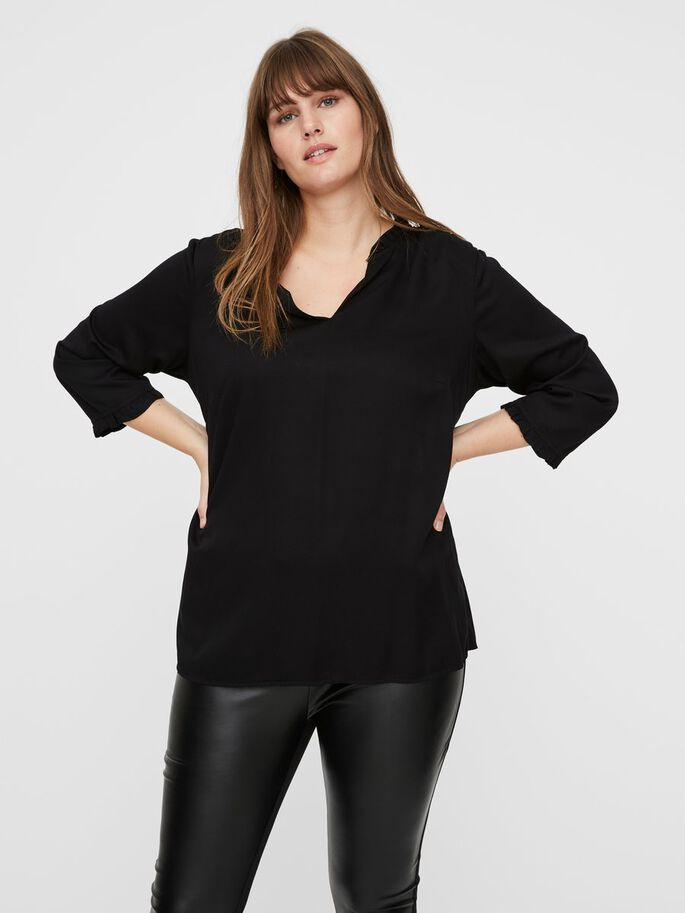 3/4 SLEEVED TOP, Black, large