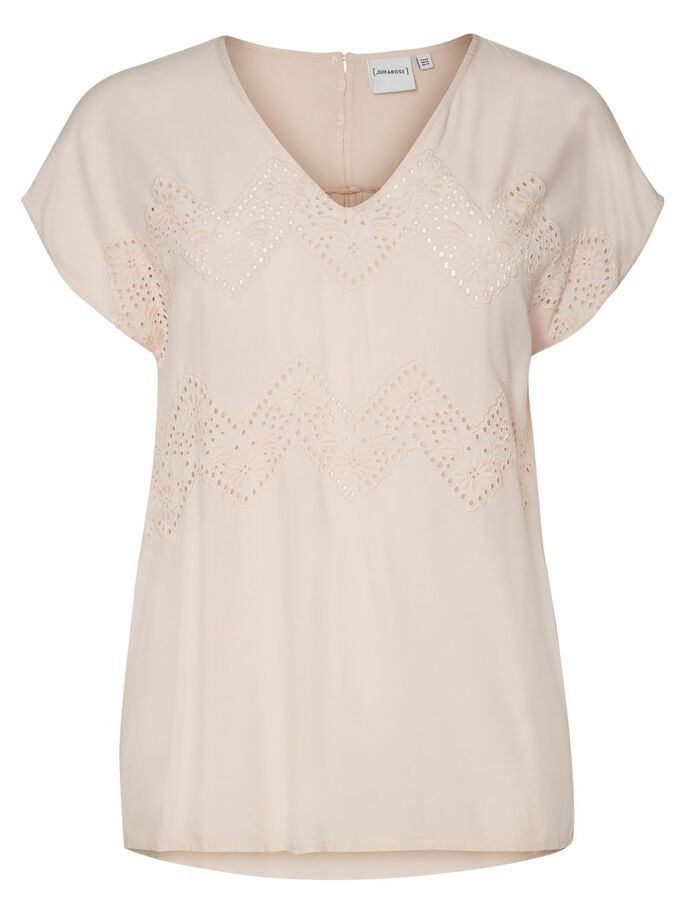 EMBROIDERY DETAILED SHORT SLEEVED BLOUSE, Peach Whip, large