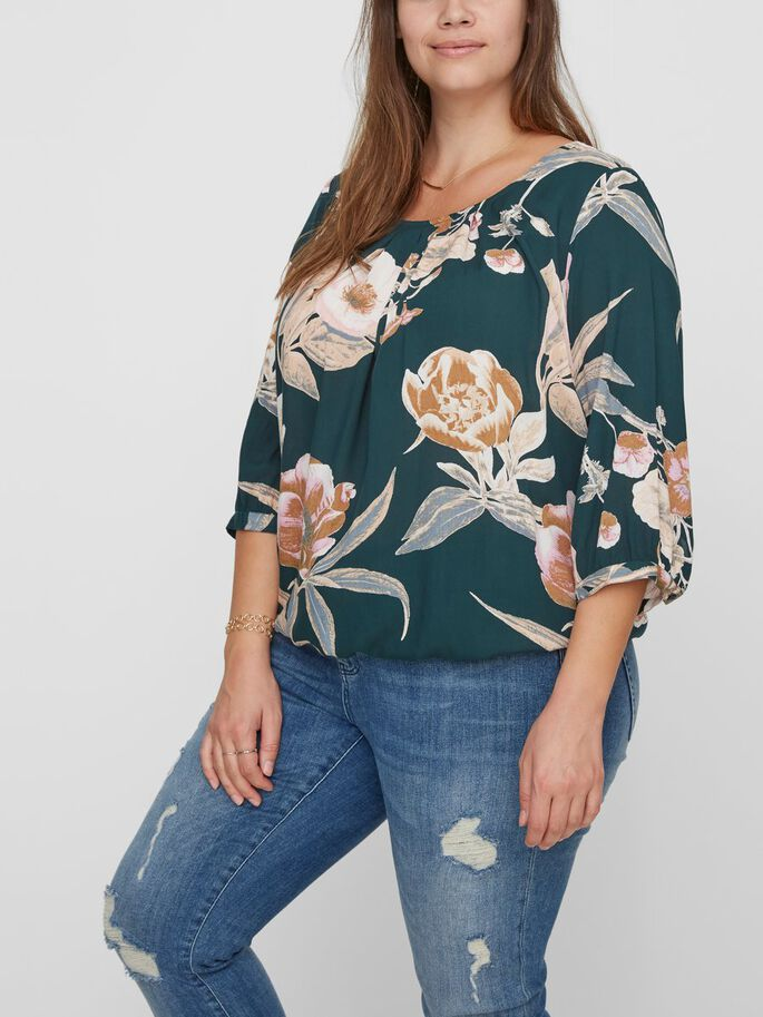 PRINTED 3/4 SLEEVED BLOUSE, Green Gables, large