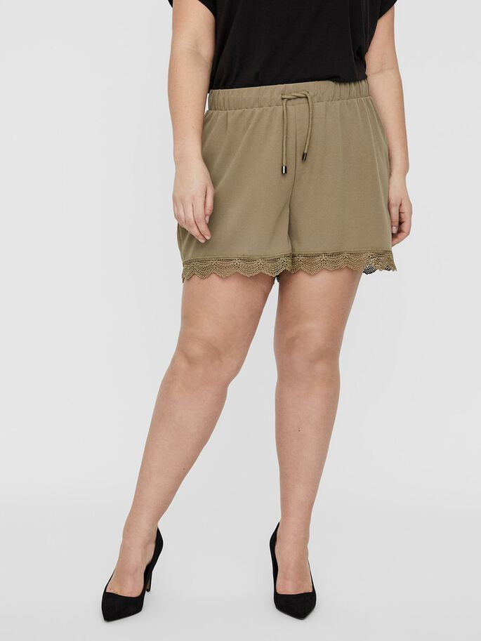 NORMAL WAIST LACE SHORTS, Covert Green, large