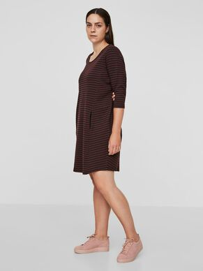 3/4 SLEEVED STRIPED DRESS