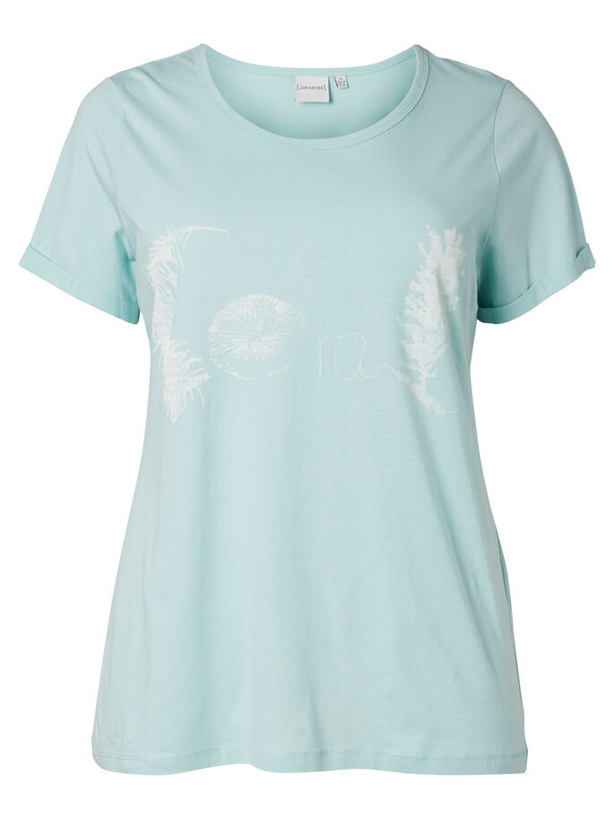 FRONT PRINTED T-SHIRT, Pastel Turquoise, large