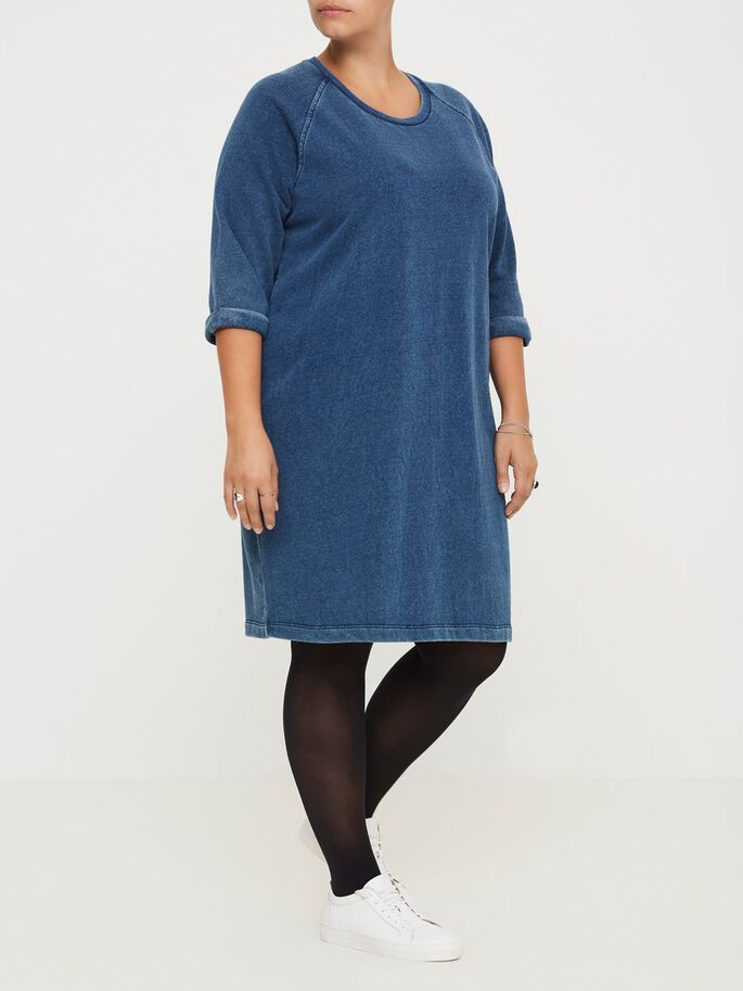 3/4 SLEEVED DRESS, Blue Denim, large