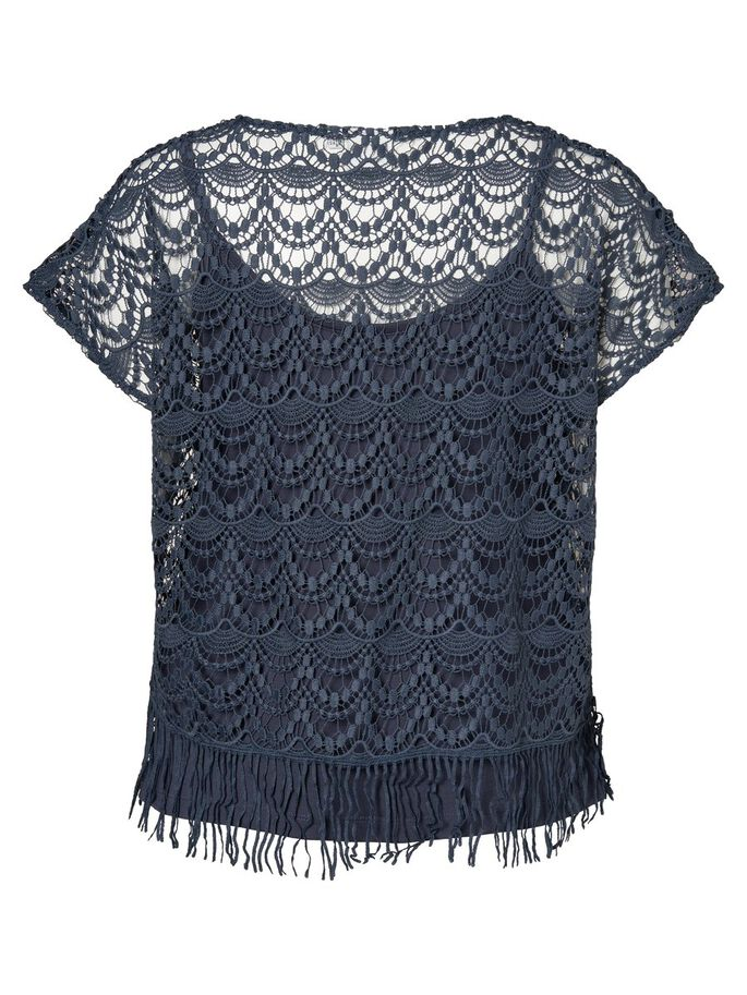 LACE DETAILED 2/4 SLEEVED BLOUSE, Ombre Blue, large