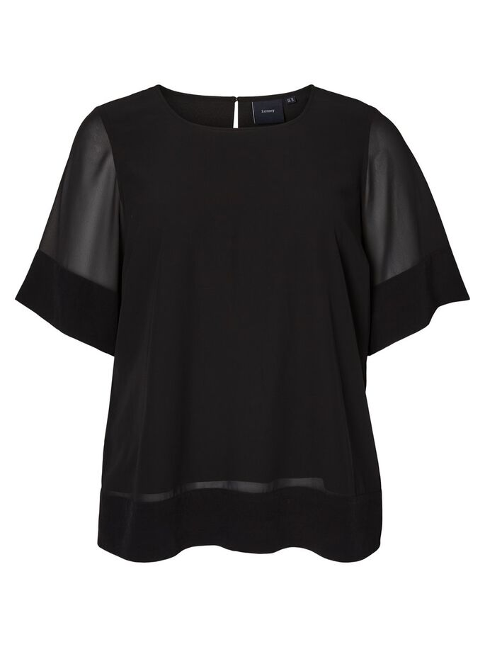 TISSÉE BLOUSE MANCHES 2/4, Black Beauty, large