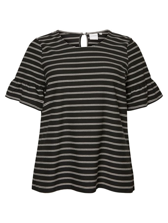 STRIPED 2/4 SLEEVED BLOUSE, Black Beauty, large