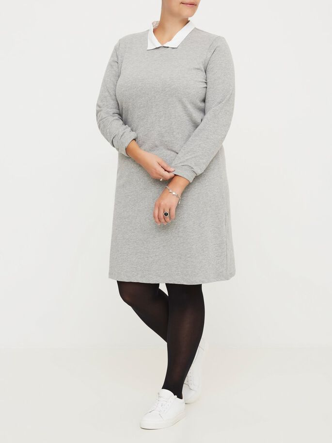 LONG SLEEVED DRESS, Medium Grey Melange, large