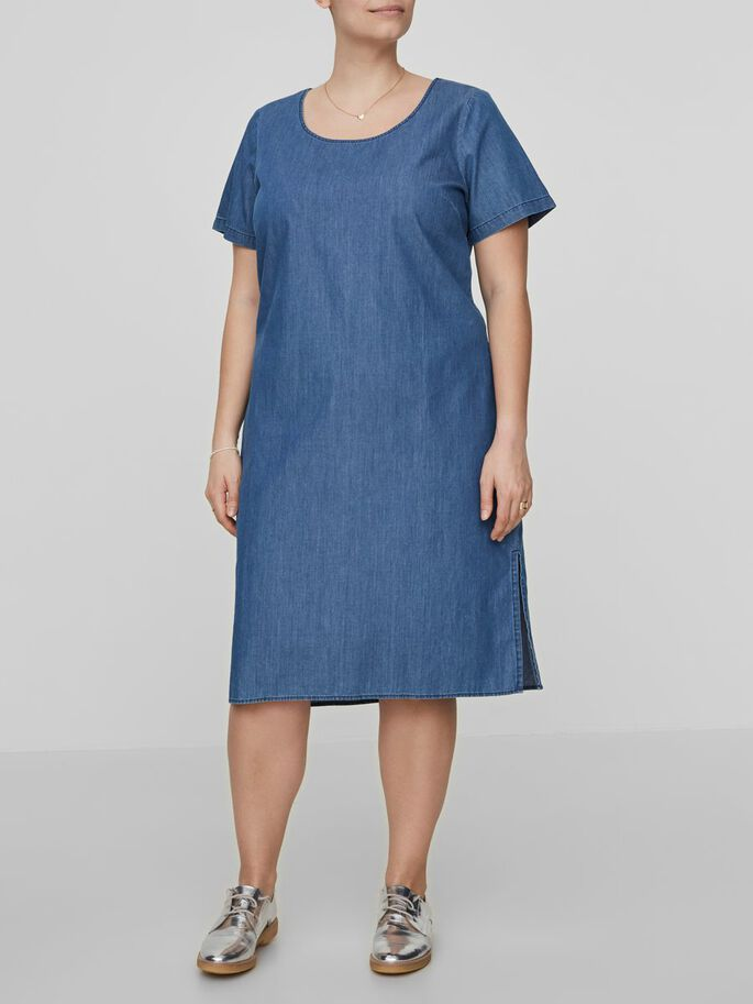 DENIM LOOK DRESS, Medium Blue Denim, large