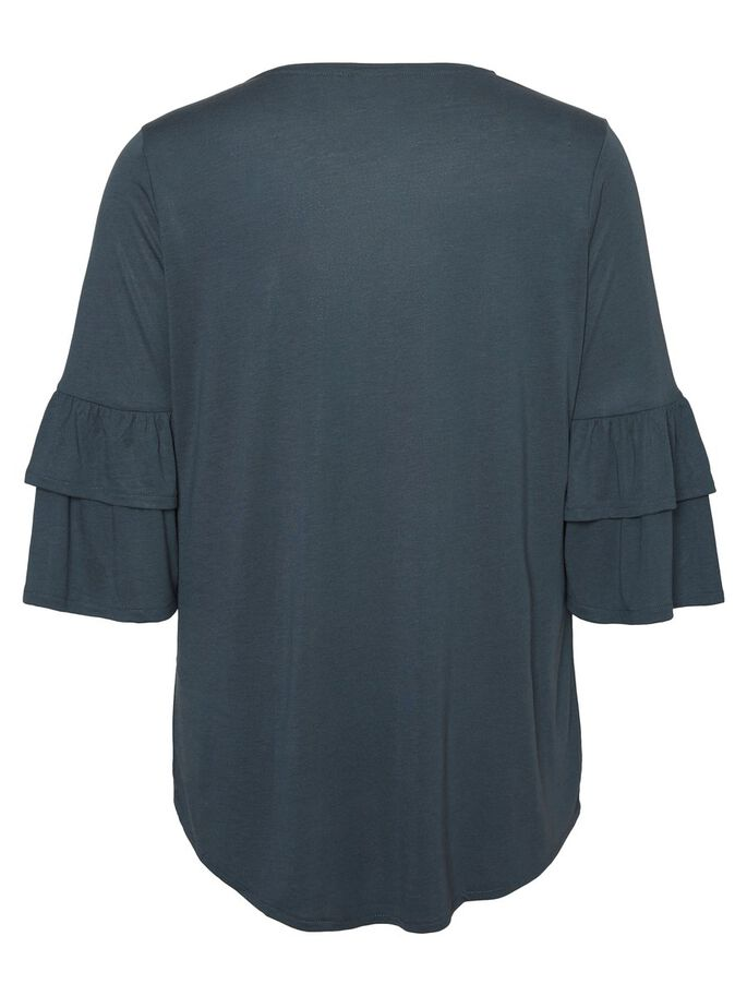 FRILL TOP 3/4 SLEEVED BLOUSE, Dark Slate, large