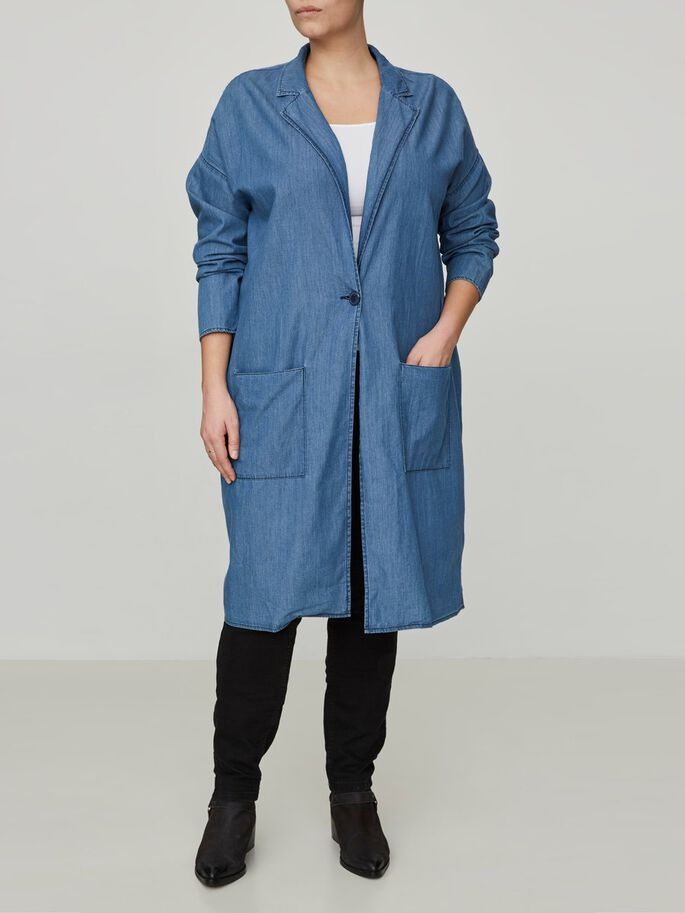 LONG SLEEVED COAT, Medium Blue Denim, large