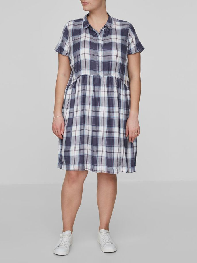 CHECKED DRESS, Ombre Blue, large