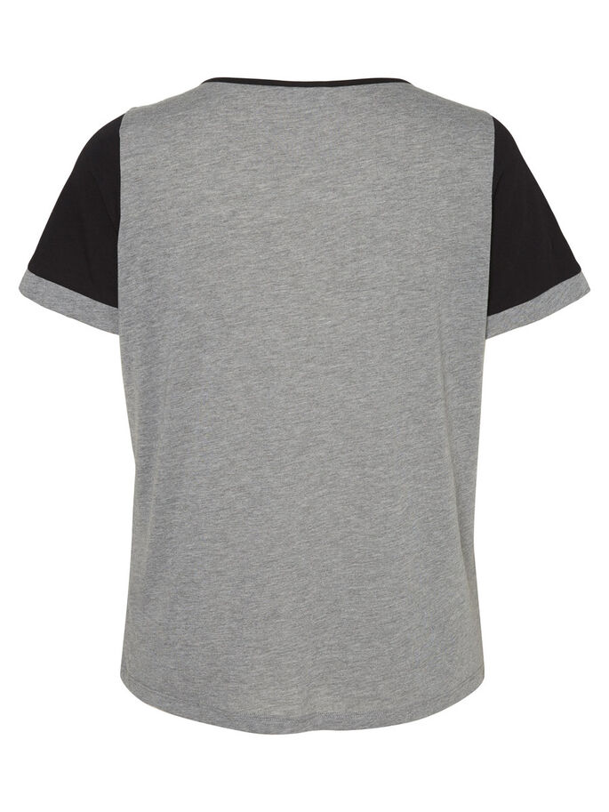 KURZÄRMELIGE BLUSE, Medium Grey Melange, large