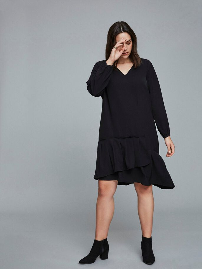 ASYMMETRIC LONG SLEEVED DRESS, Black Beauty, large