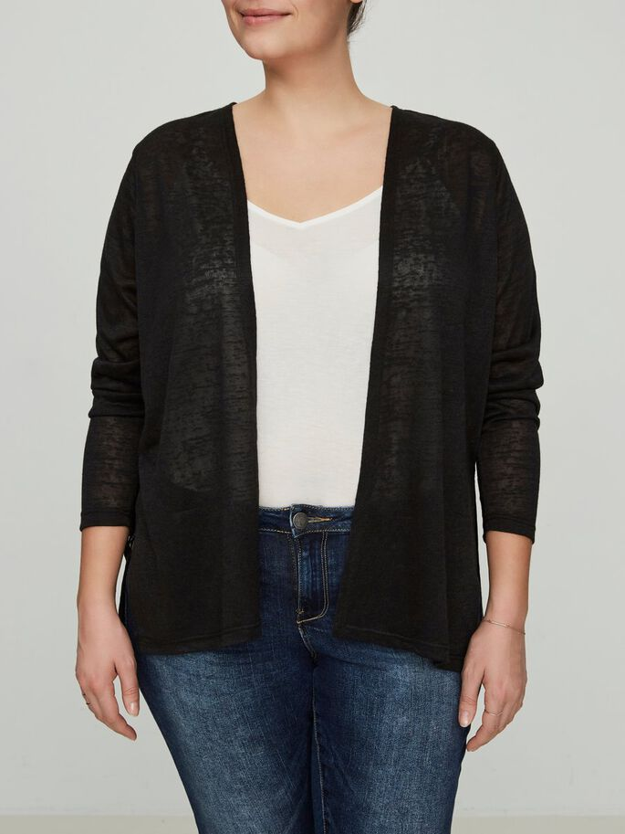 MANCHES 3/4 CARDIGAN, Black, large