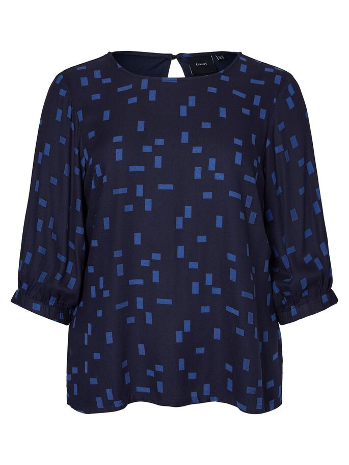 PRINTED VISCOSE 3/4 SLEEVED BLOUSE, Navy Blazer, large