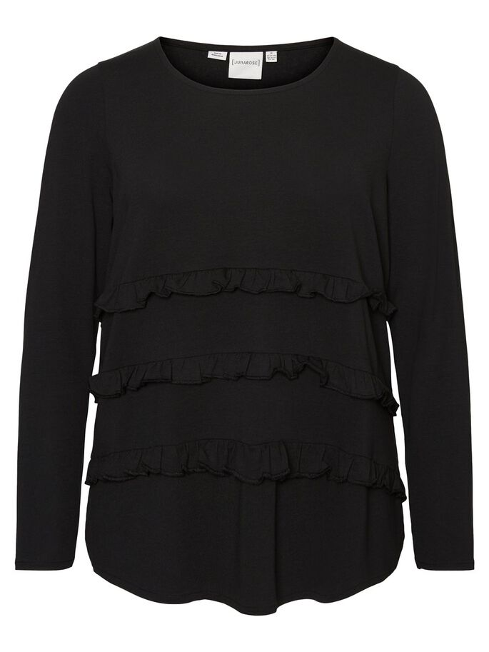FRILL LONG SLEEVED BLOUSE, Black Beauty, large