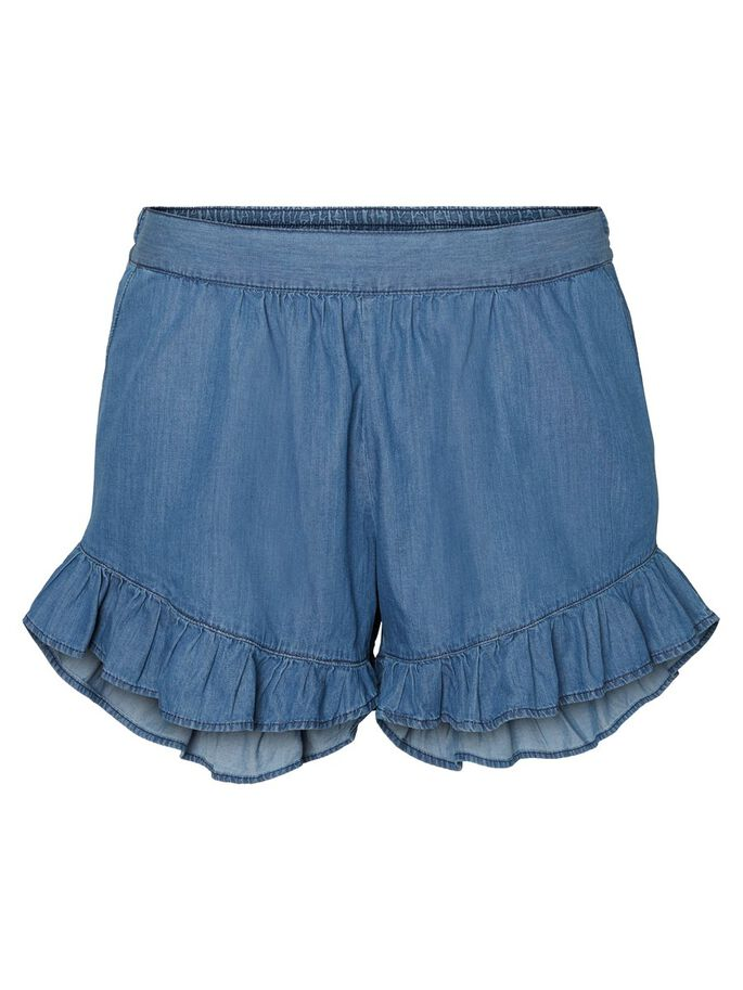 RUFFLE DETAILED SHORTS, Medium Blue Denim, large