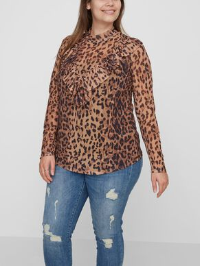 LEOPARD PRINTED LONG SLEEVED BLOUSE
