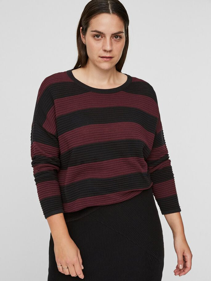 STRIPED KNITTED PULLOVER, Winetasting, large