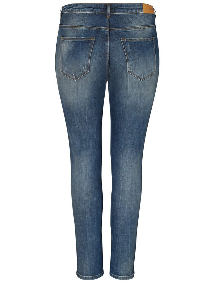DESTROYED-DETALJERAD JEANS, Medium Blue Denim, large