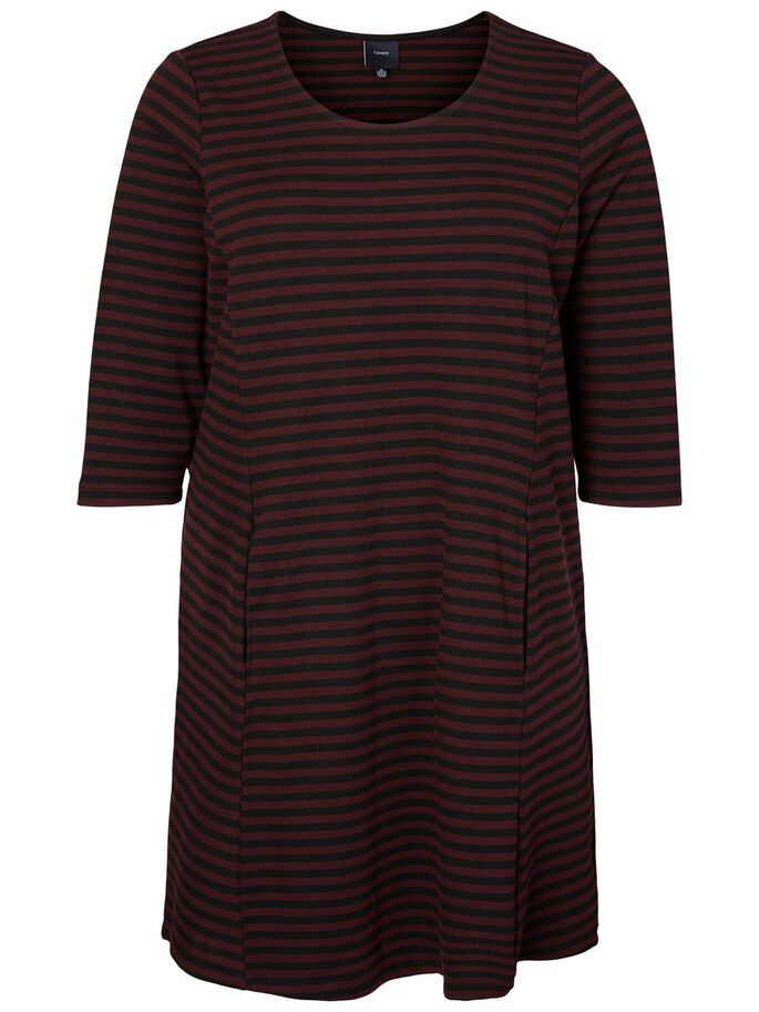3/4 SLEEVED STRIPED DRESS, Winetasting, large