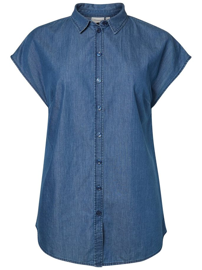 DENIM LOOK SLEEVELESS SHIRT, Medium Blue Denim, large