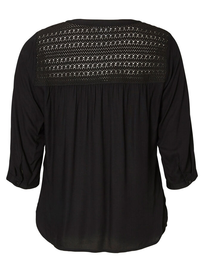MANCHES 3/4 BLOUSE, Black, large