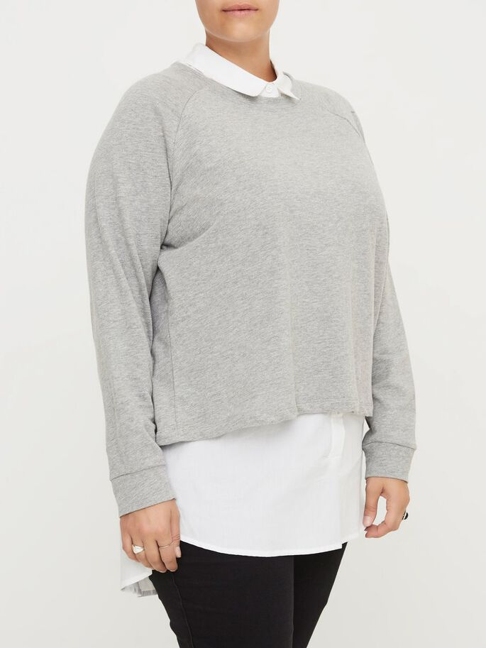 LANGÄRMELIGE SWEATSHIRT, Medium Grey Melange, large