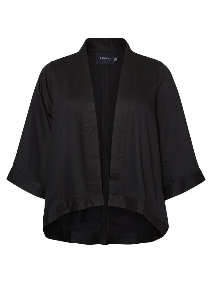 FEMININE 3/4 SLEEVED BLAZER, Black Beauty, large