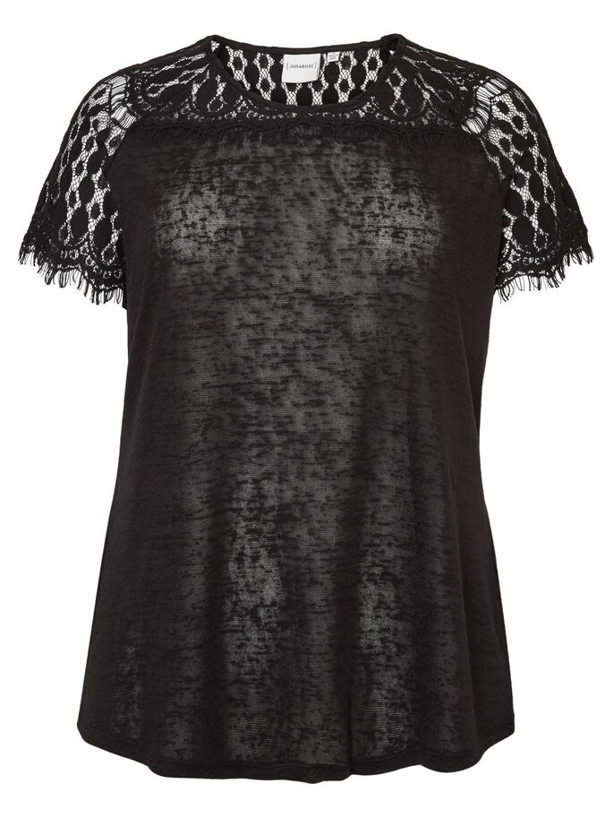 LACE DETAILED SHORT SLEEVED BLOUSE, Black, large