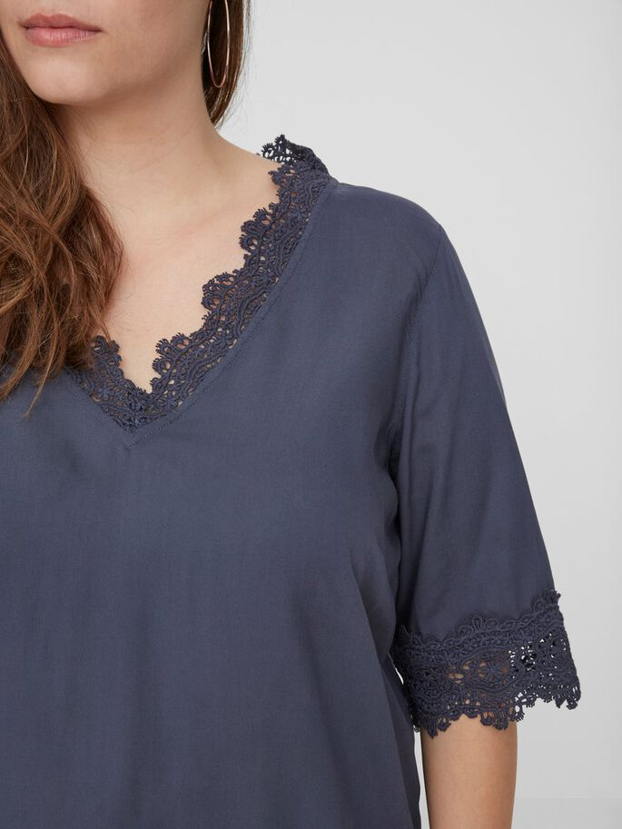 WOVEN 2/4 SLEEVED BLOUSE, Ombre Blue, large