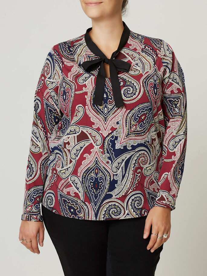 MANCHES LONGUES BLOUSE, Maroon, large